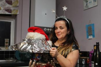 even the turkey had festive headgear